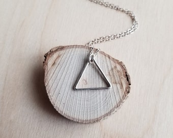 Silver Triangle Necklace - Small Triangle Pendant Necklace - Silver Geometric Necklace - Silver Layering Necklace - Simple Everyday Necklace
