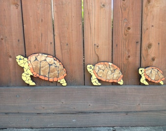 Turtle, tile mosaic art, fence decoration, fence ornaments, yard art, garden decor