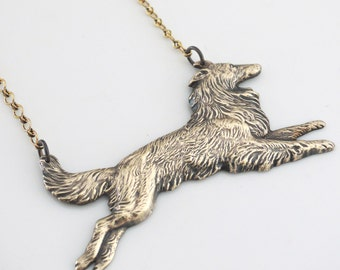 Vintage Necklace -  Collie Jewelry - Dog Jewelry - Vintage Brass Necklace - handmade jewelry