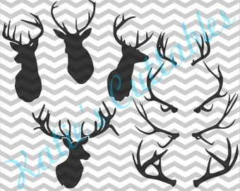 Deer Heads and Antlers Silhouette, 4 Different Heads and 4 Different Antlers .SVG File