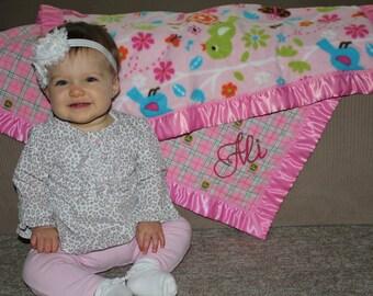 Personalized Custom Baby Blanket with Satin Binding (flannel & fleece)