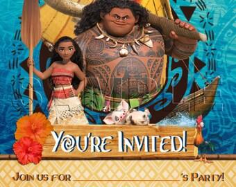 Moana Children's Birthday Party Invitations x 10 c/w Envelopes