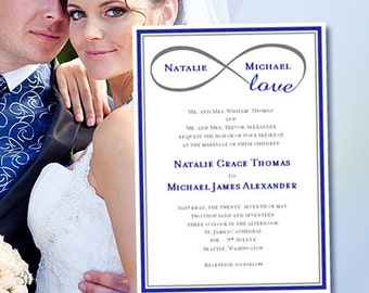 """Wedding Invitation """"Infinity Love"""" Royal Blue & Gray Printable Template Edit Microsoft Word Instant Download ALL COLORS  DIY You Print"""