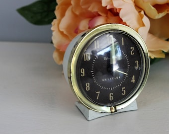 Vintage 1950s 1960s Baby Ben Alarm Clock / Vintage Westclox Wind Up Clock / Mid Century Made in USA / White With Glow In The Dark Hands