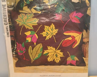 Vintage Fall Leaves Crewel Pillow Case Kit
