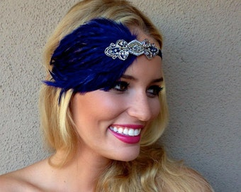 Silver Gatsby headband, silver 1920s headband, Great Gatsby Feather headband, navy Royal blue headband, Ivory feather, flapper headpiece,