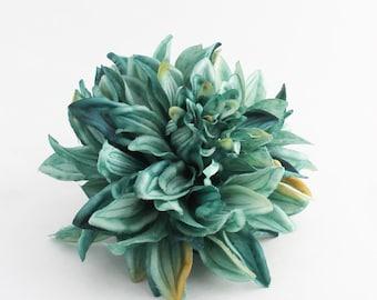 Jumbo Teal Dahlia | Wedding | Hair Accessory | Millinery Flowers | Artificial Dahlia | Wreath Flowers | Headband Flower | The Blue Hutch