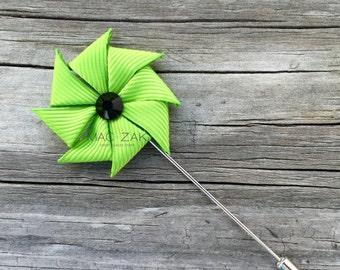 Eco Lime Green Pinwheel Pin