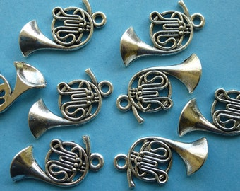 Horn, trumpet, Tibetan silver charm.     23mm  x 12mm   Set of 8