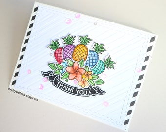 Pineapple thank you card, watercolor, rainbow, tropical, pine card.