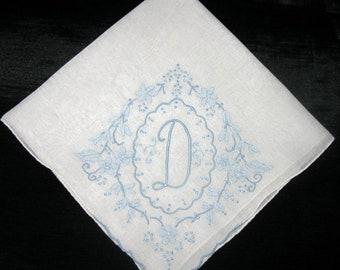 Embroidered Wedding Handkerchief D S R E K N S  H L or M Hankie Wedding Hankerchiefs Hankie Initial Letter