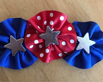 Patriotic Hair Bow / Red White and Blue Hair Bow / Girls Hair Accessories / Fourth of July Bow / Barrette Hair Bow / Memorial Day Bow