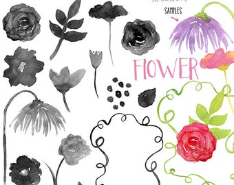 Watercolor Flowers digital brushes + png, .abr, clip art, digital stamps, graphics, INSTANT DOWNLOAD, photoshop brushes, CU, s4h, stationery