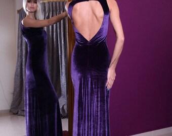 Velvet Gown with Open Back | Handmade Evening Dress