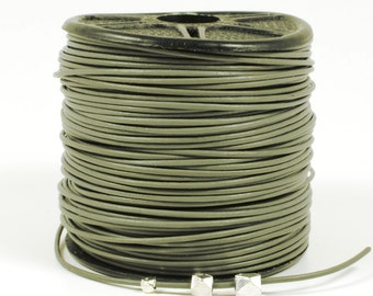 Gray Leather Cord, 0.5mm, Round Leather Cord, Lead Free Cord, RETAIL - 1 YARD/order
