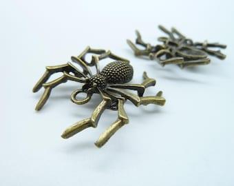 6pcs 32x35mm Antique Bronze Spider Insects Charm Pendant C2411