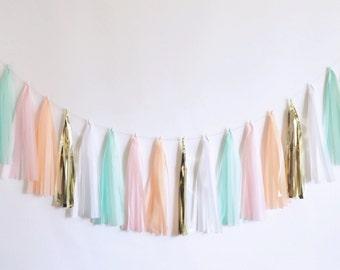 Pink Peach Mint Gold tassel garland