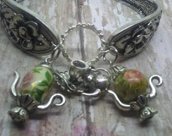tiny Teapot, spoon bracelet ,teapot charms, magnet closure plated charm bracelet
