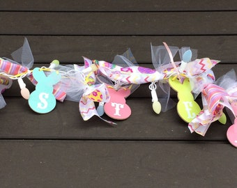 AGD Easter Decor - LED Lighted Ribbon Easter Garland
