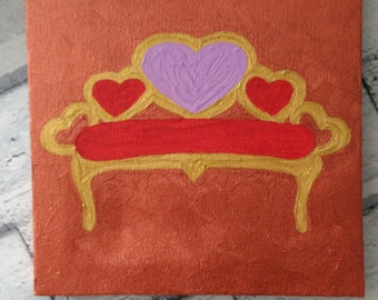 Pink, red, and gold sofa painting