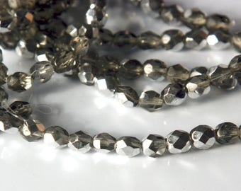 Czech glass x 50, Smoky-grey Silver AB, 6mm round , fire polished beads