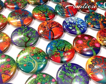 """Magical Tree, 1"""", 1.5"""", Button, Whimsical Tree, Botanical, Tree Party Favor, Magical Tree Button, Tree Pin, Whimsy Tree, Green, Red, Blue"""