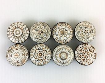 Set of 8 Gold and White Mandala Cabinet Knobs