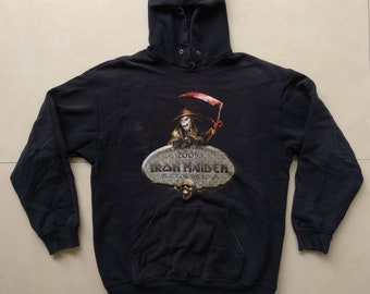 Vtg IRON MAIDEN Hoodie / 90s print sweatshirt concert tour / ACDC