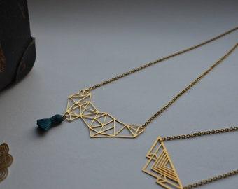 geometric blue tassel necklace