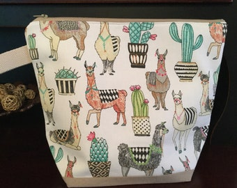 Lovely Llamas Knitting project bag, Duck Cotton Canvas