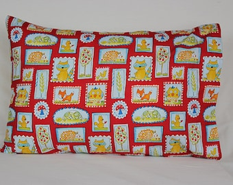Forest Animals in Red Pillowcase - fits 13 x 18 Travel or Toddler Pillow
