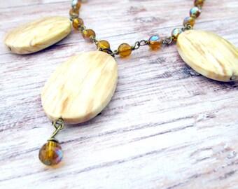 Bohemian Gemstone Bib Necklace - Bohemian Gemstone Necklace - Beaded Bib Necklace - Jasper Bib Necklace - Crystal Beaded Bib Necklace - Boho