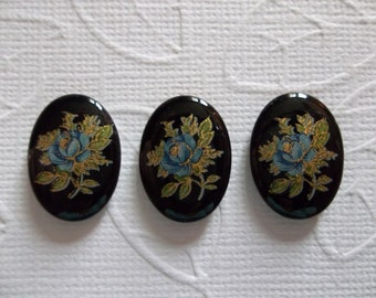Vintage Cameos - Blue Rose on Black Cameo -  18X13mm Glass Cabochons - Qty 6