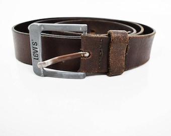 Levis Original Vintage Mens Leather Belt Brown Size 40