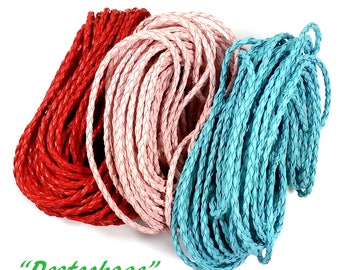 30 Mr. red, pink and blue braided leather cord