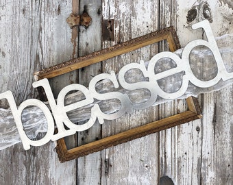 blessed Sign || Ready to Ship || Metal Sign || Home Decor || gallery wall || Galvanized || Black || Metal Word ||