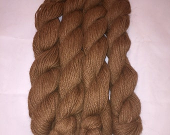 100% Alpaca Luxury Yarn, Super-Soft, Dark Fawn Color, Worsted Weight, approx 150 yards