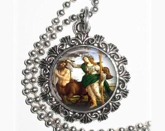 Athene and the Centaur Art Pendant, Myth Resin Pendant, Sandro Botticelli Art, Photo Pendant
