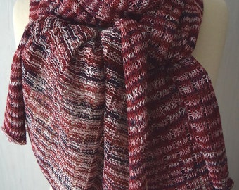 Linen Shawl  Knit Scarf Natural Summer Wrap in Red Blue Pink White Women Accessory