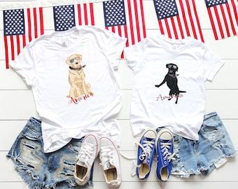 Patriotic Pooch, Yellow Labrador Retriever Mom, Dog in an American bandanna triblend womens t-shirt, ladies top, 4th of July Shirt