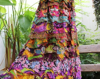 ARIEL ON EARTH - Patchwork Floral Printed Cotton Ruffle Tiered Skirt - SH1710-08