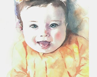 Custom baby portrait, baby girl in flower crown, realistic child watercolor portrait, newborn hand painted portrait from photo