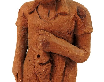 Clay Figure Woman Holding Fish Malawi African 104337
