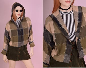 90s Checkered Hooded Jacket/ Small/ 1990s/ Hoodie