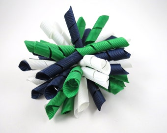 Green Blue and White Korker Hair Bow  -  Emerald Green Hair Bow - White Hair Bow - Navy Blue Hair Bow - Korker Hair Clip - Korker Hair Bow
