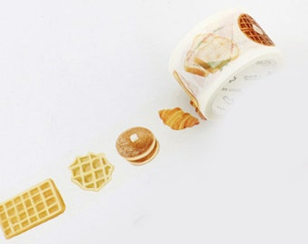 Waffles Washi Tape, Sandwich Washi Tape, Japanese Washi Masking Tape, Breakfast, Donut, Pastry, Croissant, Bread, Pancakes, Yummy, Brunch