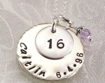 Sweet Sixteen Birthday Necklace - Name and  Birth Date - Jewelry for Girls -  Choice of Birth Crystal - Birthday Jewlery -  Sterling Silver