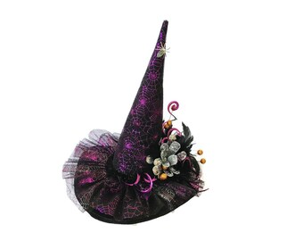 """Spider Witch Hat, Witch's Costume Hat, Burlesque Witch Hat, Diva Witch, Witch's Tea Party Hat in Metallic Spider Webs- """"Along Came a Spider"""""""