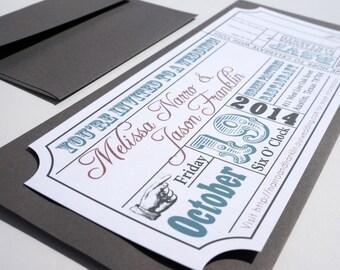 Movie Ticket Wedding Invitation DIGITAL DESIGN