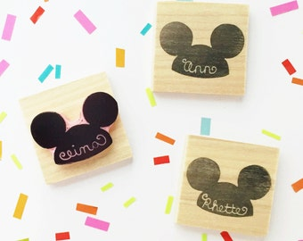 Personalized Disneyland Disney World Mickey Mouse Ears Hand Carved Rubber Stamp